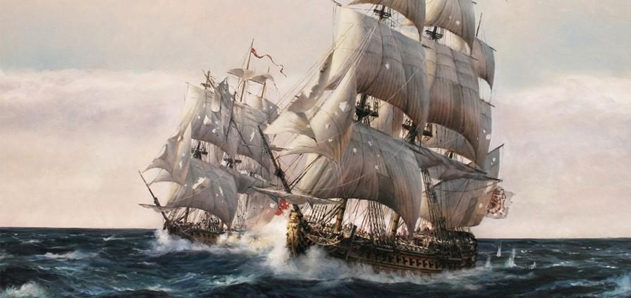 Cuadro del Glorioso Combate en Finisterre - Agusto Ferrer-Dalmau