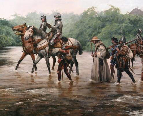 En 1521, Hernán Cortés, al mando de un reducido grupo de españoles y de una coalición de pueblos indígenas, conquistó la ciudad de Tenochtitlán, poniendo fin al poderoso Imperio azteca. Cuadro de Agusto Ferrer-Dalmau
